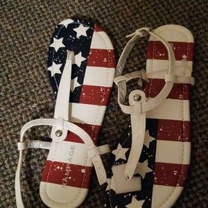 Rampage womens patriotic sandels real leather